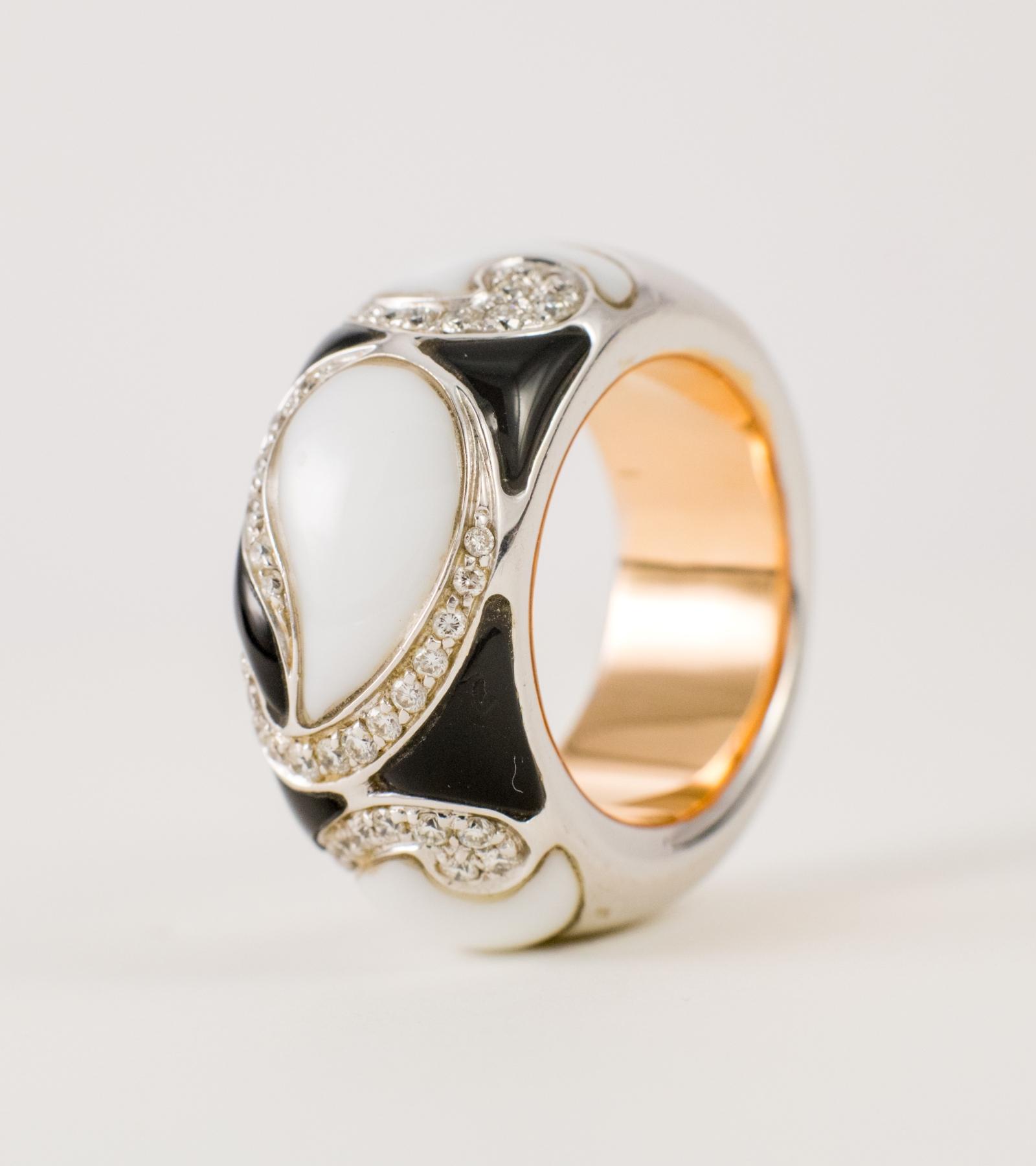Anillo oro blanco y amarillo y diamantes