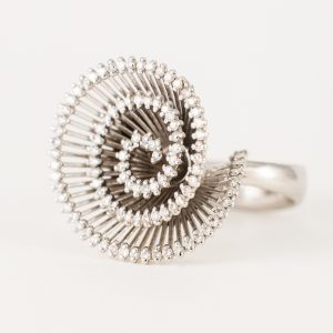 Anillo Oro Blanco Diamantes Espiral