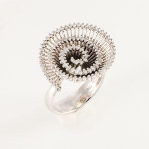 Anillo Oro Blanco Diamantes Espiral