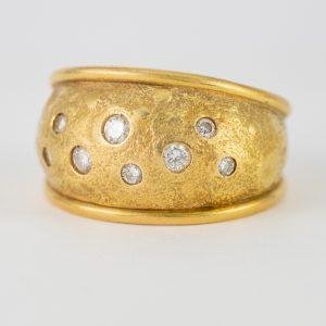 Anillo Oro Amarillo Diamantes Etrusco