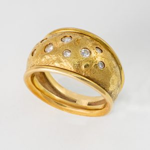 Anillo Oro Amarillo Diamantes Etrusco