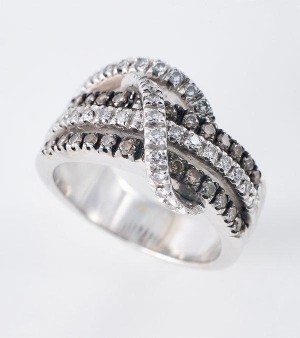 Anillo Nudo Diamantes Oro blanco