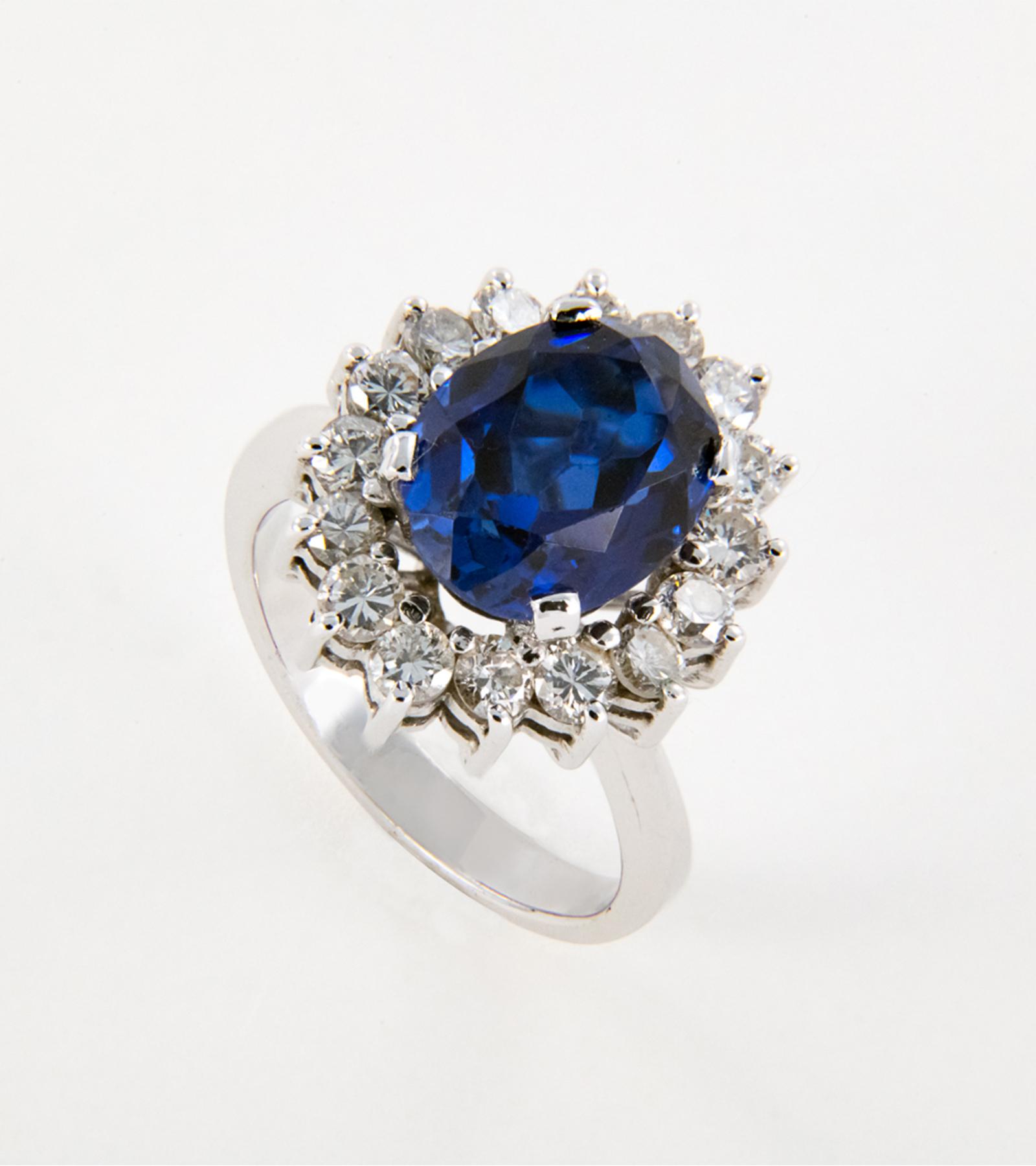 Anillo Roseta Zafiro y Diamantes