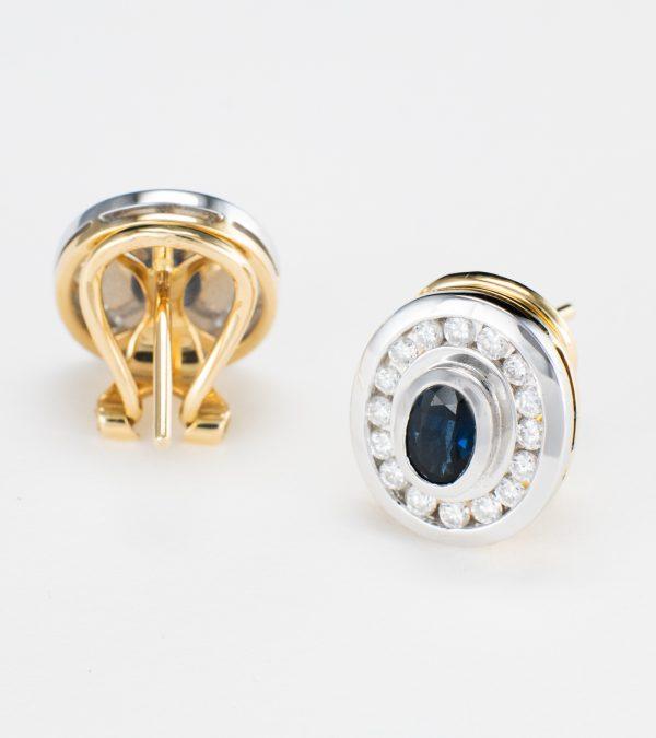 Pendientes Zafiro con Diamantes