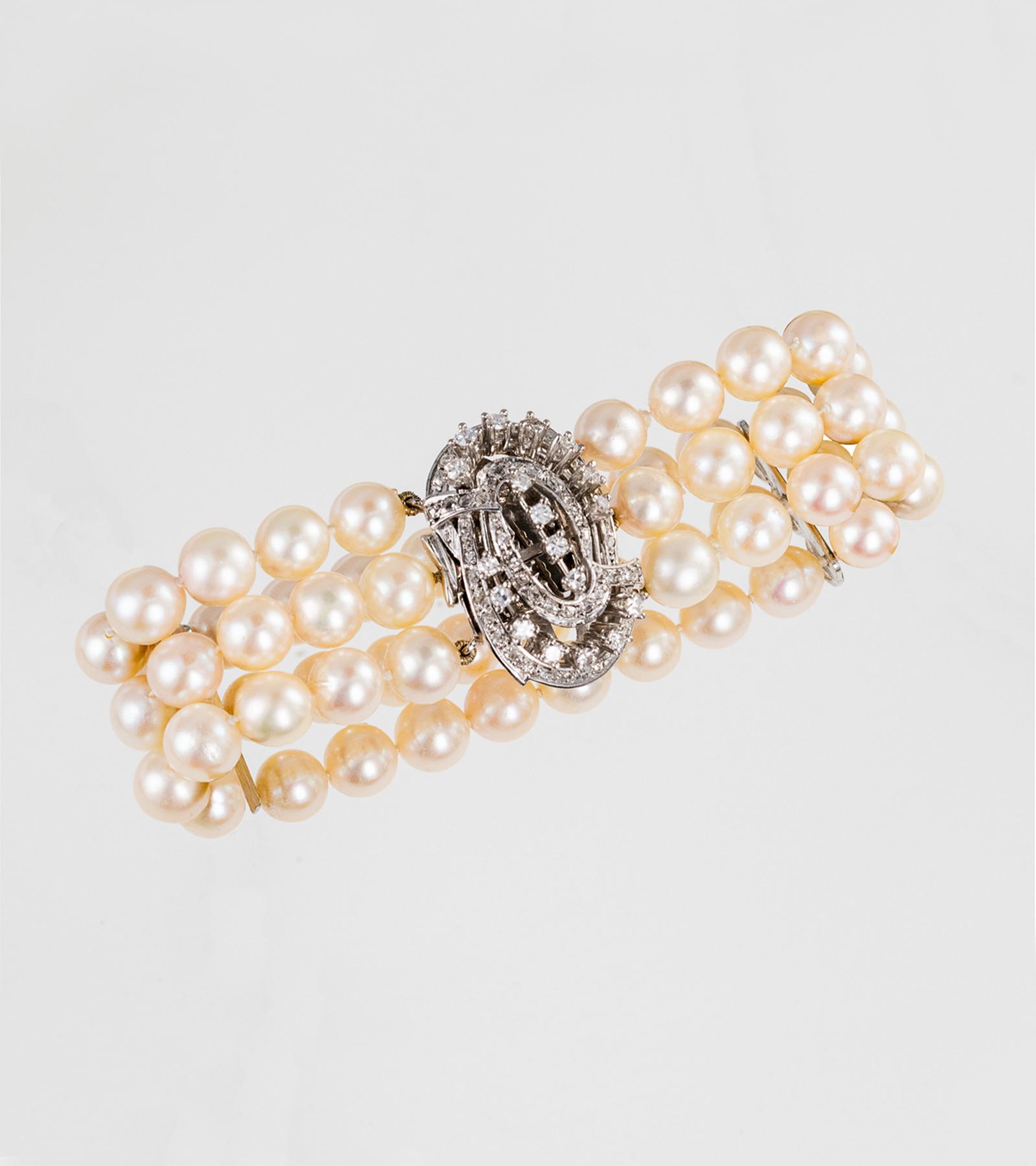 Pulsera de Perlas y Diamantes
