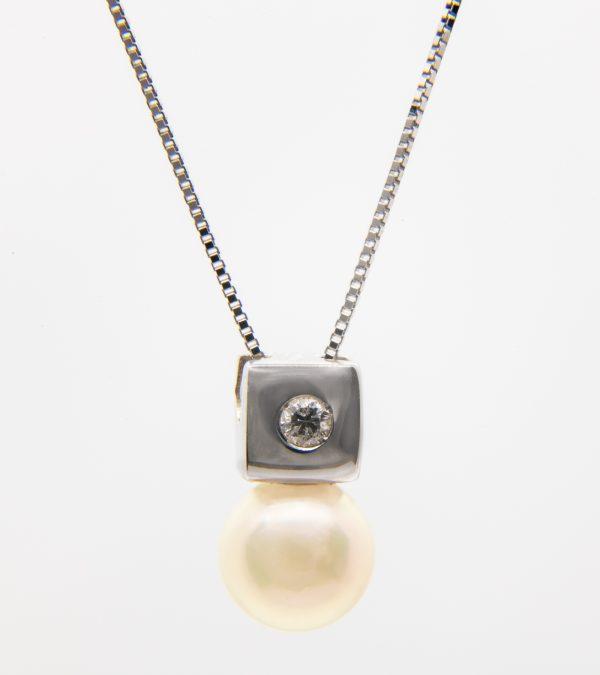 Gargantilla Oro Blanco Perla Diamante