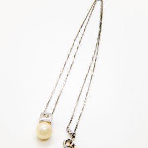 Gargantilla Oro Blanco Perla Diamant
