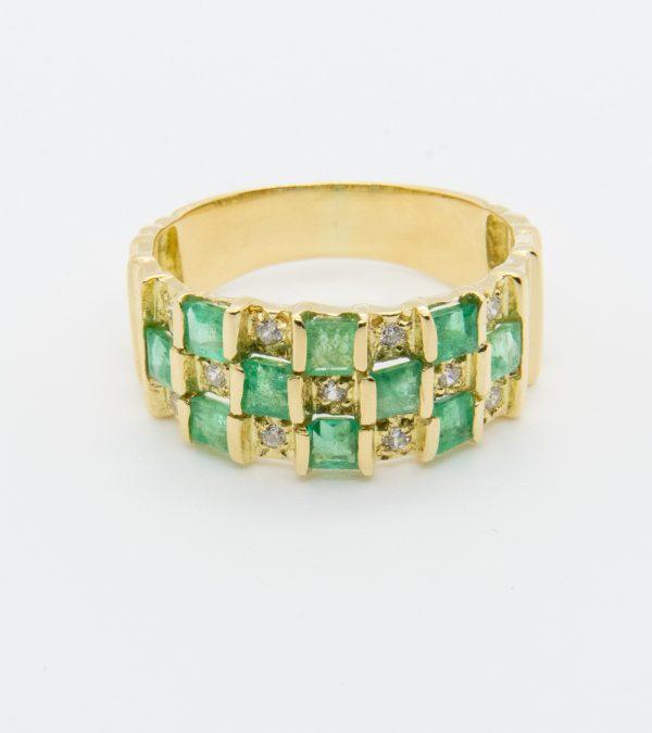 Anillo Diamantes Esmeraldas