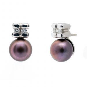 Pendientes Perla Tahití Diamantes