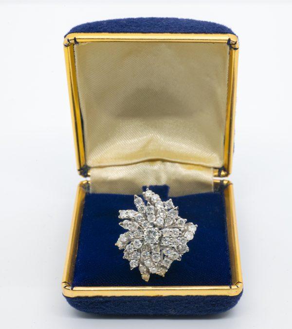 Anillo Oro Blanco Diamantes Vintage