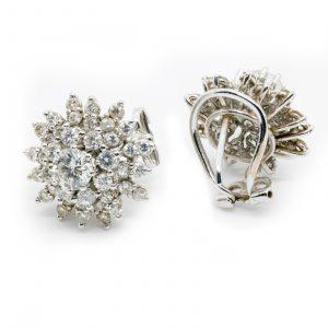 Pendientes Roseta Oro Blanco Diamantes