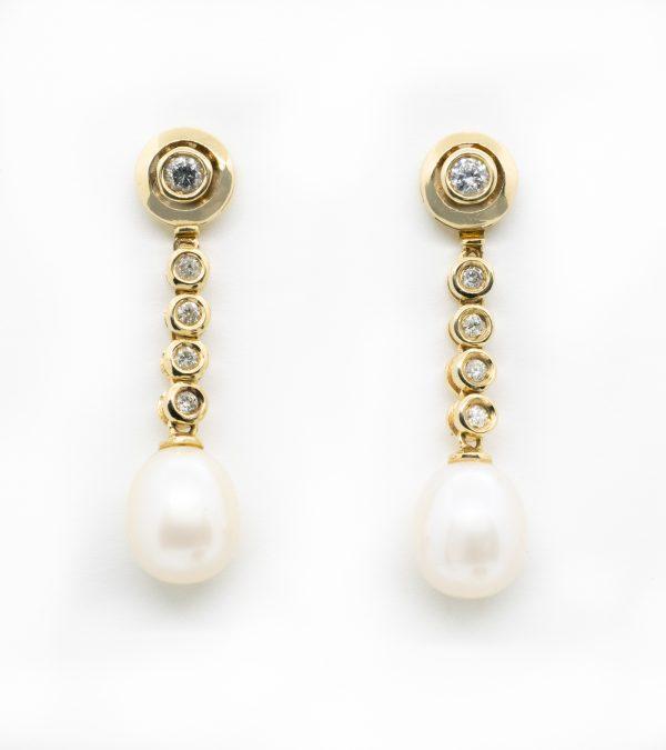 Pendientes Desmontables Perlas y Dimanantes